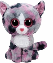Ty beanie knuffel roze gevlekte kat 15 cm trend