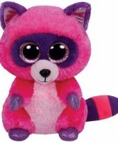 Ty beanie knuffel roze wasbeer 15 cm trend