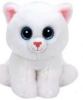 Ty beanie knuffel witte kat 15 cm trend