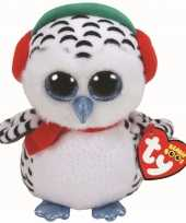 Uil uilen speelgoed artikelen ty beanie sneeuw uil knuffelbeest nester gekleurd 24 cm trend