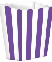 Uitdeelbakjes paars wit 5 stuks trend