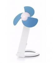 Usb bureau ventilator wit blauw 22 cm trend