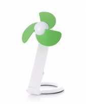 Usb bureau ventilator wit groen 22 cm trend