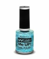 Uv glitter nagellak neon blauw trend