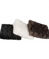 Vacht deken zwart 120 x 150 cm trend