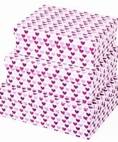 Valentijn kado doosje hartjes paars 22 cm trend