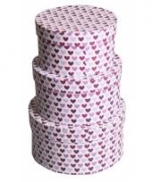 Valentijn rond kado doosje hartjes paars 16 cm trend
