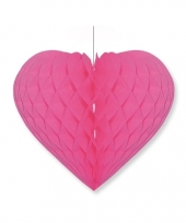 Valentijnsdag decoratie hart fuchsia roze 28 x 32 cm trend
