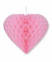 Valentijnsdag decoratie hart lichtroze 15 x 18 cm trend