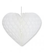 Valentijnsdag decoratie hart wit 15 x 18 cm trend