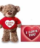 Valentijnskaart en knuffelbeer 24 cm met i love you rood shirt trend