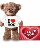 Valentijnskaart en knuffelbeer 24 cm met i love you shirt trend