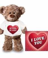 Valentijnskaart en knuffelbeer 24 cm met ik vind je lief shirt trend