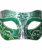 Venetiaans glitter oogmasker groen zilver trend