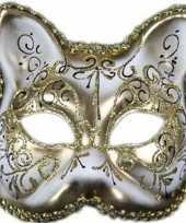 Venetiaans katten poezen gezichtsmasker wit goud trend
