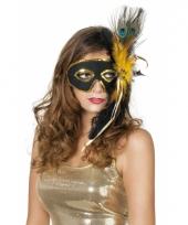 Venetiaans oogmasker zwart met pauwenveren trend