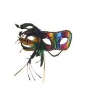 Venetiaans regenboog veren oogmasker trend