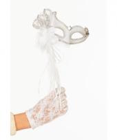 Venetiaans theater oogmasker wit zilver op stok trend