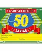 Verjaardag cadeau cheque sarah 50 jaar a4 formaat trend