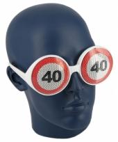 Verjaardagbril met 40 verkeersbord trend