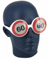 Verjaardagbril met 60 verkeersbord trend