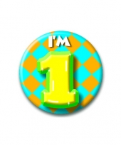 Verjaardags button i am 1 trend