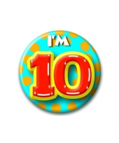 Verjaardags button i am 10 trend