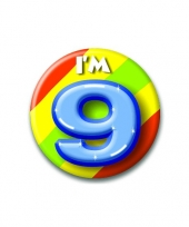Verjaardags button i am 9 trend