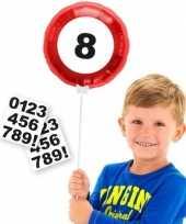 Verkeersbord folieballon met cijfer stickers 23 cm trend