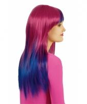 Verkleed lange blauw roze damespruik trend