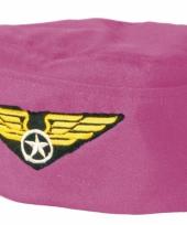 Verkleedhoedje roze stewardess trend