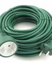 Verlengsnoer kabel groen 20 meter binnen buiten trend