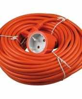 Verlengsnoer kabel oranje 20 meter binnen buiten trend