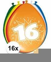 Versiering 16 jaar ballonnen 30 cm 16x sticker trend
