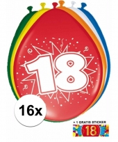 Versiering 18 jaar ballonnen 30 cm 16x sticker trend
