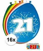 Versiering 21 jaar ballonnen 30 cm 16x sticker trend