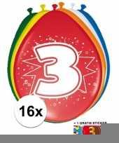 Versiering 3 jaar ballonnen 30 cm 16x sticker trend