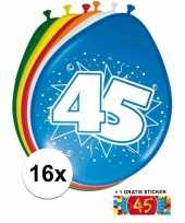 Versiering 45 jaar ballonnen 30 cm 16x sticker trend