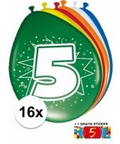 Versiering 5 jaar ballonnen 30 cm 16x sticker trend