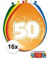 Versiering 50 jaar ballonnen 30 cm 16x sticker trend