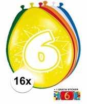 Versiering 6 jaar ballonnen 30 cm 16x sticker trend