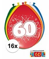 Versiering 60 jaar ballonnen 30 cm 16x sticker trend