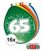 Versiering 65 jaar ballonnen 30 cm 16x sticker trend