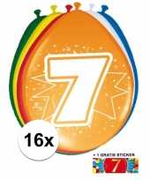 Versiering 7 jaar ballonnen 30 cm 16x sticker trend
