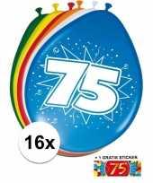 Versiering 75 jaar ballonnen 30 cm 16x sticker trend