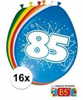Versiering 85 jaar ballonnen 30 cm 16x sticker trend