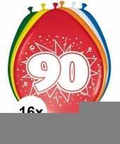 Versiering 90 jaar ballonnen 30 cm 16x sticker trend