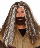 Viking pruik bruin met grijs voor heren trend