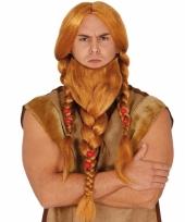 Vikingen verkleedpruik rood met baard trend