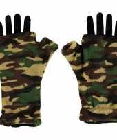 Vingerloze handschoenen camouflage print voor volwassenen trend